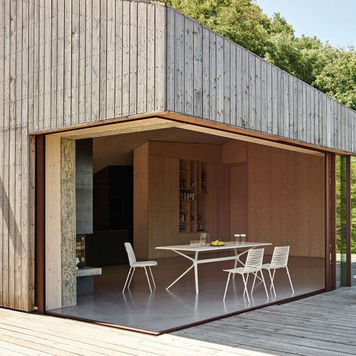 contemporary table / aluminum / painted aluminum / stone