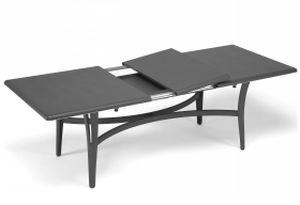 contemporary table / painted aluminum / rectangular / garden