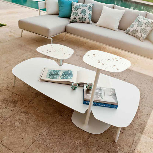 contemporary side table / cast aluminum / trapezoidal / garden