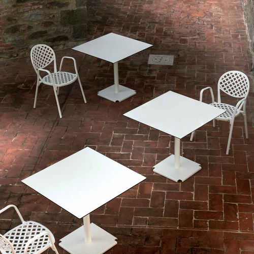 contemporary chair / with armrests / stackable / cast aluminum