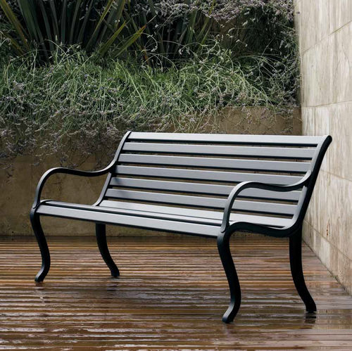 garden bench / traditional / cast aluminum / with backrest