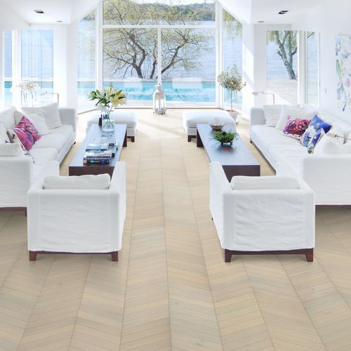 chevron parquet floor / engineered / glued / oak