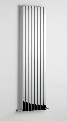metal hot water radiator / chrome / contemporary / vertical