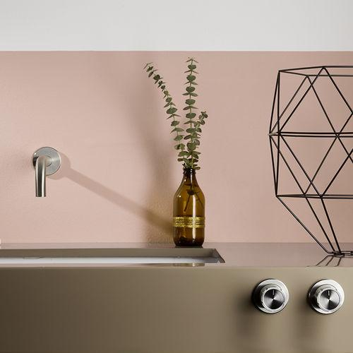 double-handle washbasin mixer tap / wall-mounted / stainless steel / bathroom