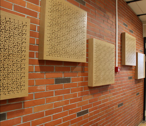 interior acoustic panel / wooden / perforated / commercial