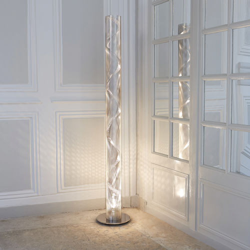 contemporary light column / stainless steel / LED / halogen