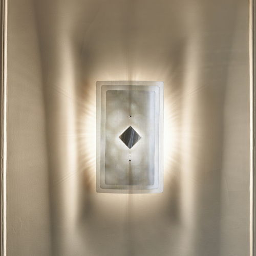 contemporary wall light / polished stainless steel / halogen / rectangular