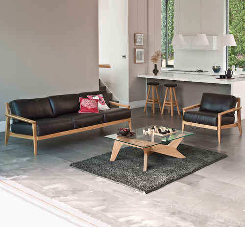 Contemporary sofa / leather / wood / 3-seater STANLEY by Matthew Hilton case