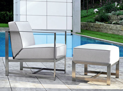 contemporary armchair / stainless steel / sled base / for hotels