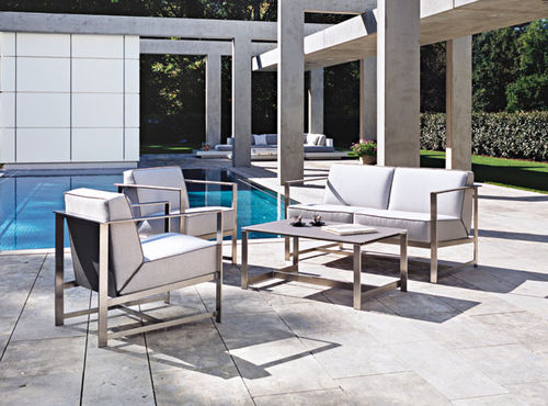 contemporary sofa / outdoor / stainless steel / for hotels