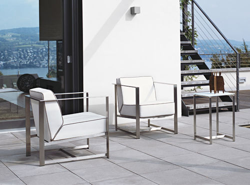 contemporary side table / steel / rectangular / for outdoor use