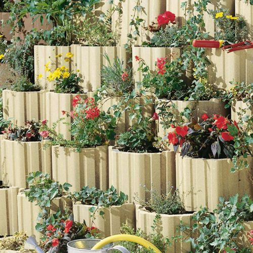 hollow concrete block / for garden enclosures
