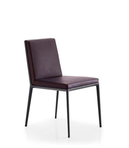 contemporary chair / upholstered / leather / aluminium