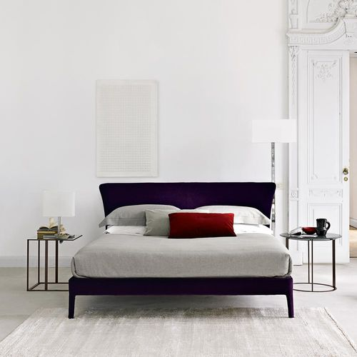 double bed / contemporary / with headboard / fabric