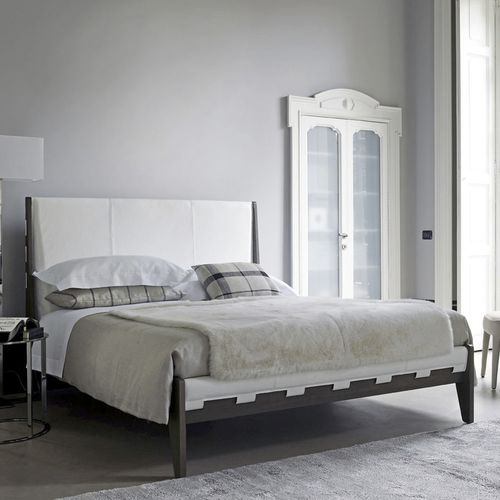 double bed / contemporary / wooden / leather