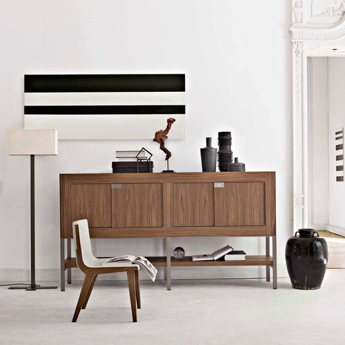 sideboard with long legs / contemporary / solid wood / with shelf
