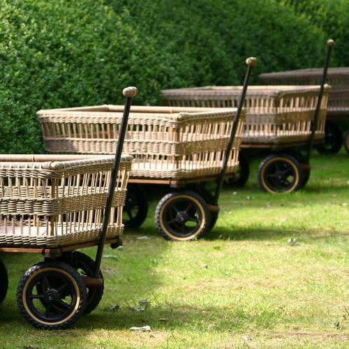 firewood trolley / wooden / aluminum