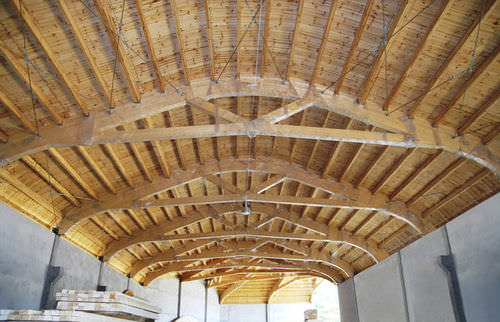 Glue-laminated wood beam / rectangular / arched / for circular constructions EcoCurves