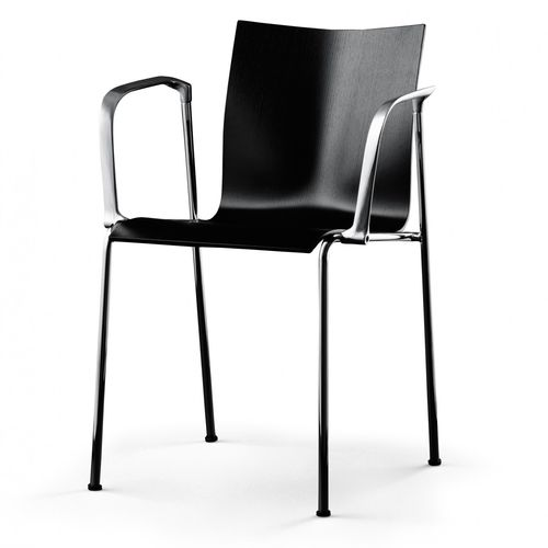 contemporary visitor chair / with armrests / stackable / chrome