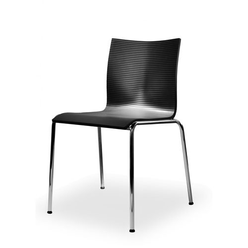 contemporary visitor chair / stackable / satin / chrome