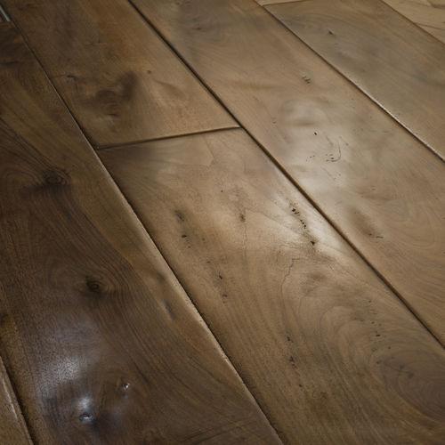engineered parquet floor / glued / walnut / waxed