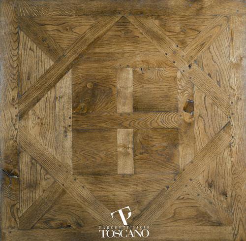 solid parquet floor / glued / antique / patina