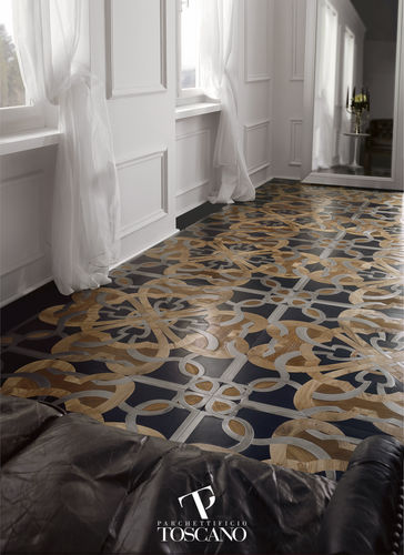 Solid wood flooring / glued / oiled / natural stone inlaid CALIMALA (077) Parchettificio Toscano Srl