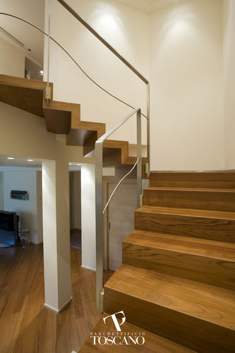 Half-turn staircase / wooden steps / wooden frame / with risers TEAK (040) Parchettificio Toscano Srl