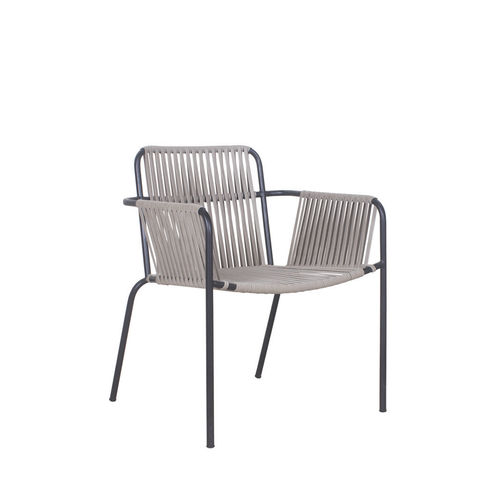 contemporary garden chair / with armrests / aluminum / rope