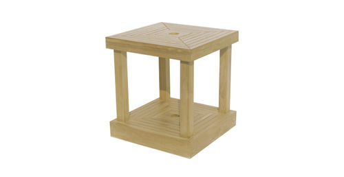 traditional side table / teak / square / garden