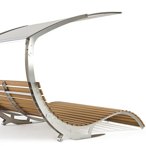 Contemporary sun lounger / water-repellent fabric / iroko / stainless steel LECTVS PALMAR arredi