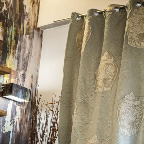 curtain fabric / patterned / embroidered