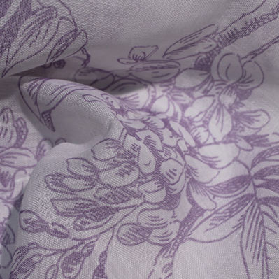 curtain fabric / floral pattern / polyester / linen
