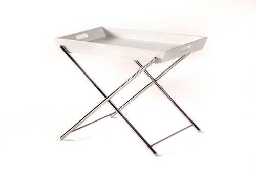 contemporary side table / metal / oak / MDF