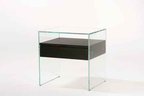 contemporary bedside table / glass / oak / rectangular