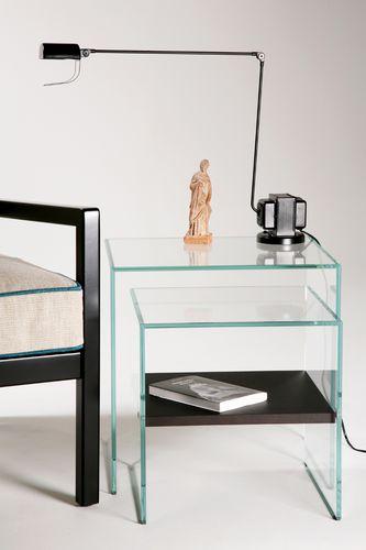 contemporary nesting tables / glass / oak / rectangular