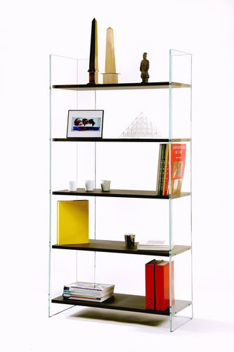contemporary bookcase / oak / tempered glass facing