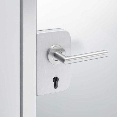 glass door handle / contemporary / with lock