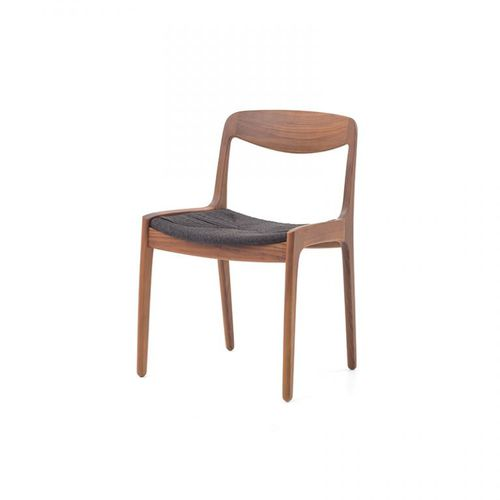 Scandinavian design chair / upholstered / solid wood / rope