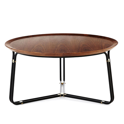 contemporary coffee table / stainless steel / laminate / round