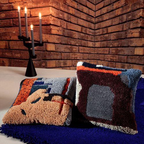 chair cushion / square / multi-color / linen