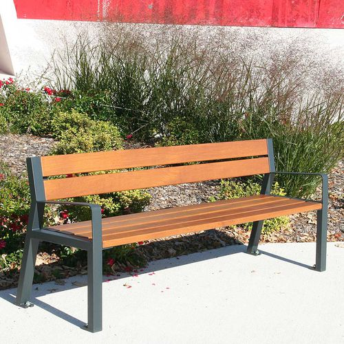 public bench / contemporary / oak / steel