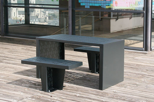 contemporary table and chair set / steel / outdoor / for public spaces