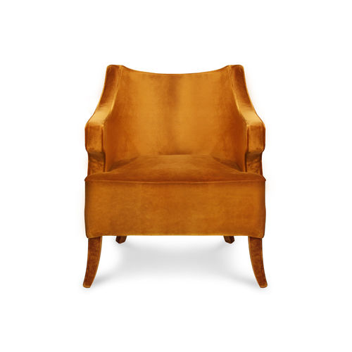 contemporary armchair / velvet / orange
