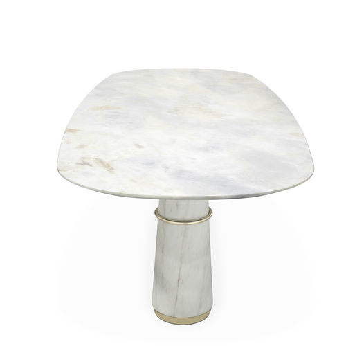 Contemporary dining table / polished brass / marble / oval AGRA II BRABBU