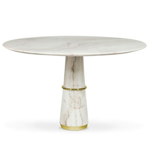 contemporary dining table / polished brass / marble / round
