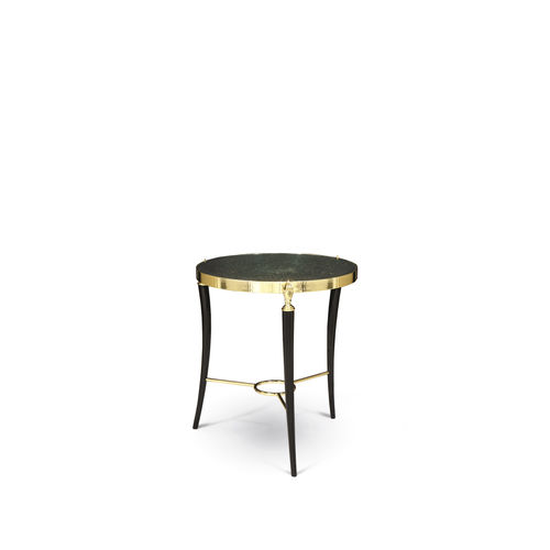 traditional side table / smoked glass / polished brass / round