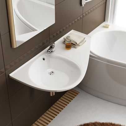 wall-mounted washbasin / composite / contemporary / with counter