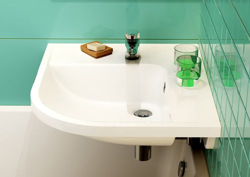 wall-mounted washbasin / corner / composite / contemporary