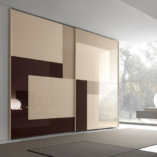 contemporary wardrobe / lacquered wood / glass / sliding door